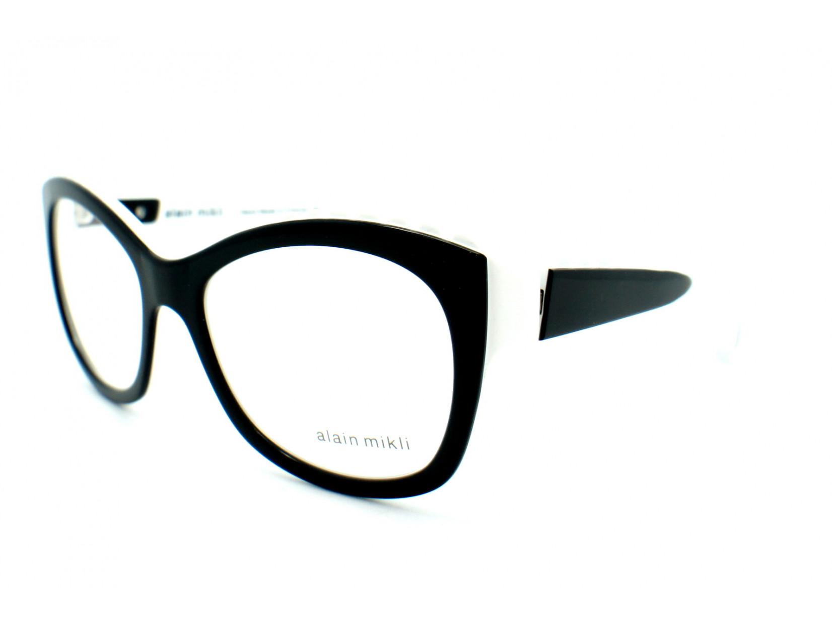 0804efedab5d2 Lunettes de vue pour femme ALAIN MIKLI Noir Blanc AL 1400 3074 53 18