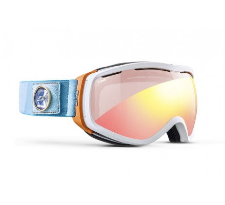 Masque de ski JULBO ELARA Blanc / Orange / Turquoise - Zebra Light Red