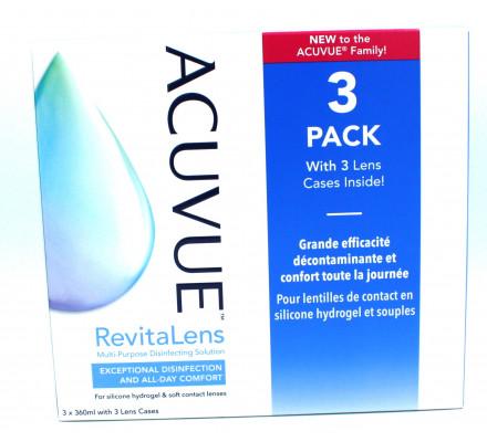 Produit pour lentilles JOHNSON VISION CARE Acuvue Revitalens pack de 3 X360 ML